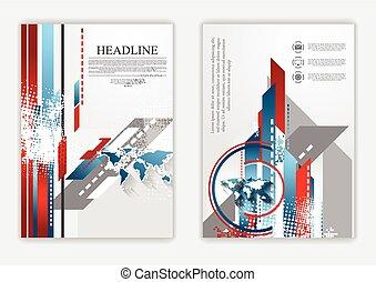 technisch, plat, flyer, ontwerp