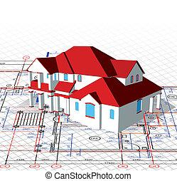 technisch, trekken, vector, house., architecturaal