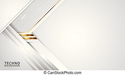 Techno abstract white overlap style background.