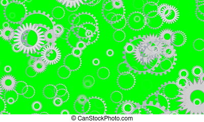 Techno background with flying gears, cogwheels rotating on green screen.