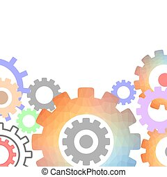 Techno Background with Geometric Colorful Gear Wheels. Space for Text. Modern Mechanism Industrial Concept