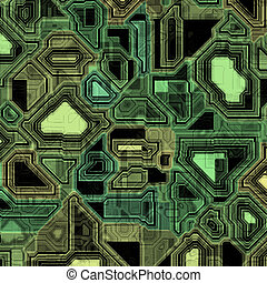 techno circuitry - A high-tech circuit board background. It...