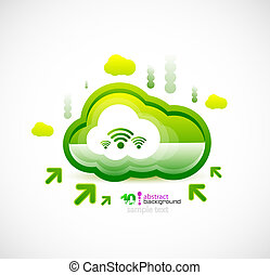 Techno cloud - Green ecology cloud. technology concept...
