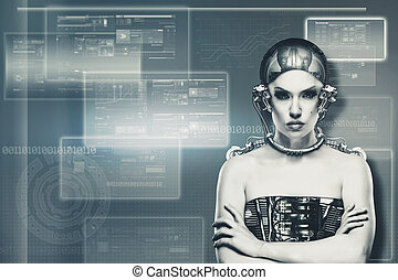 Techno female portrait. Science and technology concept