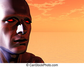 techno head - surreal head of a man with red eyes - 3d...