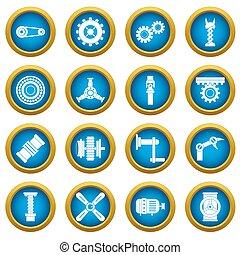 Techno mechanisms kit icons blue circle set