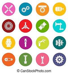 Techno mechanisms kit icons many colors set
