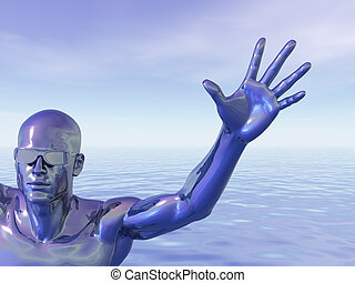 techno - surreal man figure with sunglasses - 3d ...