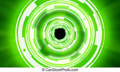 techno, tunnel, résumé, fond, cercles
