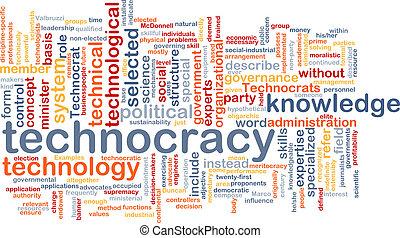 Technocracy  background wordcloud concept illustration