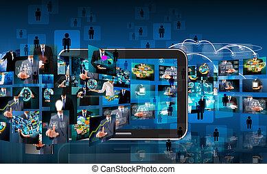 technológia, és, ügy, háttér