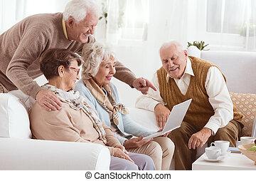 technológia, alatt, öregek otthona