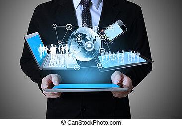 technológia, alatt, a, kézbesít