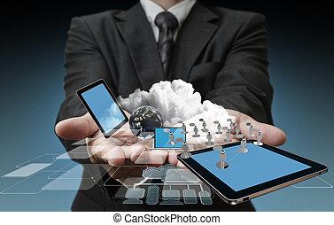 technológia, alatt, a, kézbesít, közül, businessmen