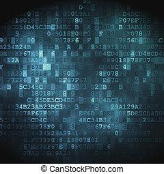 technológia, concept:, hex-code, digital háttér