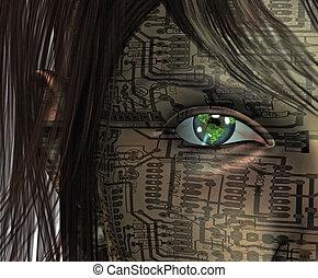 technológia, emberi, noha, földdel feltölt, szem