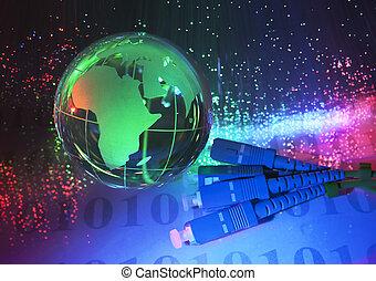 technológia, földdel feltölt földgolyó, ellen, rost optic, háttér