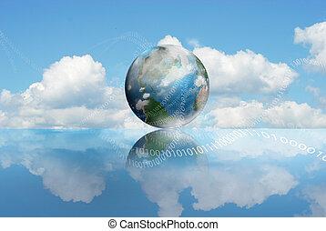 technológia, felhő, kiszámít