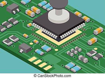 technológia, felmegy, elhelyezés, integrált áramkör, felszín