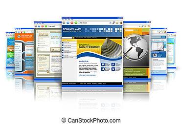 technológia, internet, websites, visszaverődés