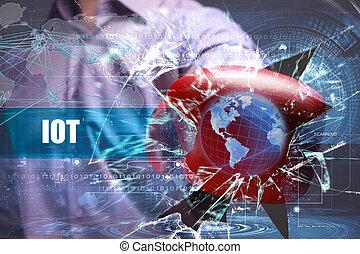 technológia, iot, ügy, security., internet, hálózat