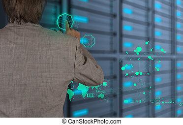 technológia, modern, dolgozó, üzletember