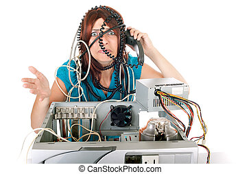 technológia, nő, pánik
