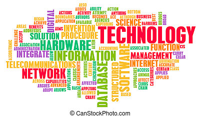 technológia, szó, felhő