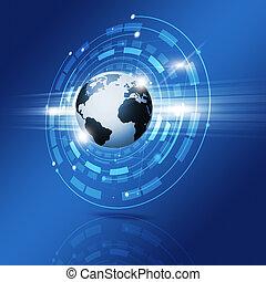 technológia, világ, határfelület