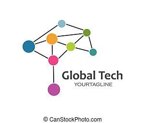 technolgy, globale, illustration, vektor, konstruktion, logo, ikon