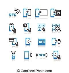 technolgy, komplet, nfc, ikona
