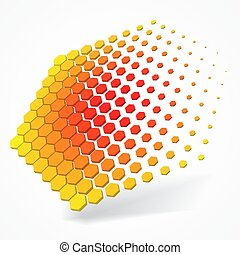 technolgy theme with hexagons. 3d style vector illustration.