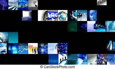 technologia, definicja, palcowe ożywienie, wysoki, collage