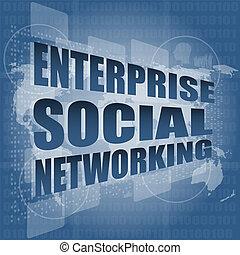 technologia, ekran, towarzyski, tworzenie sieci, interfejs, cześć, przedsięwzięcie, dotyk
