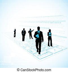 technologia, handlowy, ludzie tła