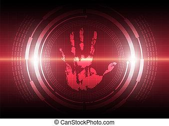 technologia, handprint, skandować