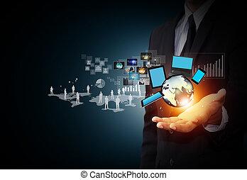 technologia, i, towarzyski, media