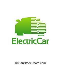 technologia ilustracji, szablon, elektryczny, projekty, wektor, wóz, logo