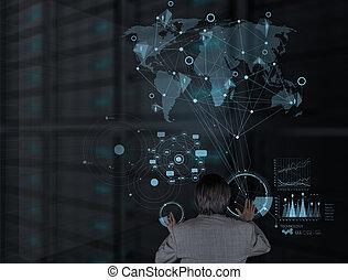 technologia, nowoczesny, pracujący, biznesmen