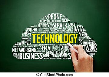 technologia, słowo, chmura, collage