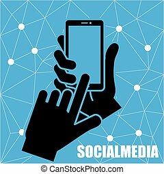 technologia, sieć, towarzyski