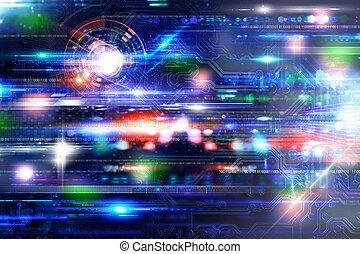 technologia, tło, futuristich