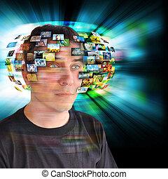 technologia, telewizja, człowiek, z, wizerunki
