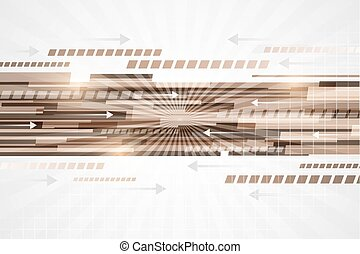 Technological abstract vector line with arrows. -...