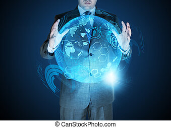 Technological Advances - A businessman holding a technical...