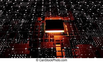 Technological background from an abstract microcircuit and an microprocessor. Glow from the processor. 3d illustration video