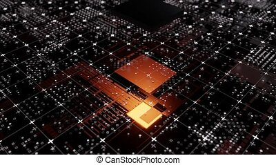 Technological background from an abstract microcircuit and an animated microprocessor appearing. Glow from the processor. 3d illustration video