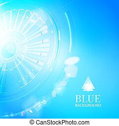 Technological background of blue cogwheel.
