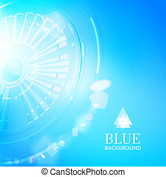 Technological background of blue cogwheel.