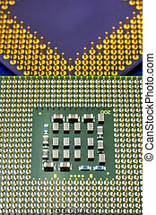 Technological background with blue computer motherboard and central processing unit